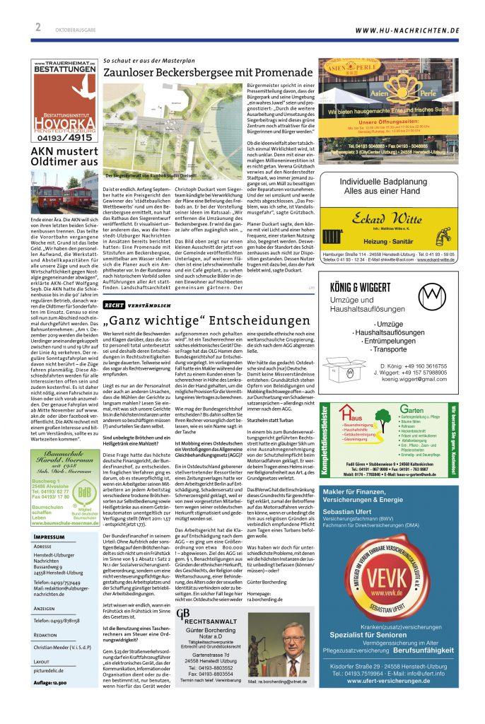 Grafik Design Lokalzeitung Seite 1